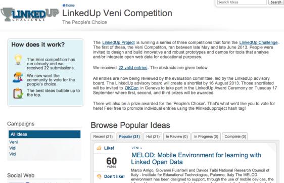 LinkedUp Ideascale site